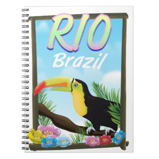 Reiseplakat Rios Brasilien Toucan Notizblock