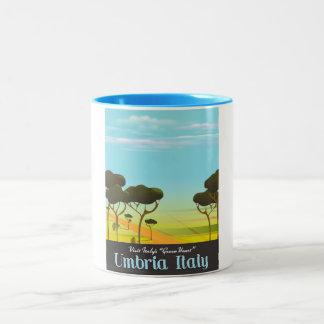 Reiseplakat Umbriens Italien Zweifarbige Tasse