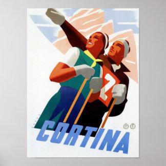 Reiseski-Wintersport des Cortina Vintager Poster