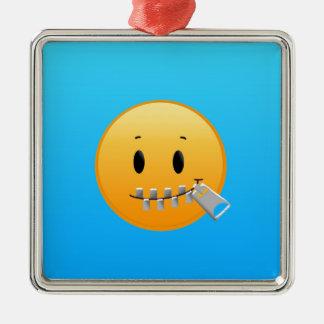 Reißverschluss Emoji Silbernes Ornament
