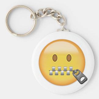 Reißverschluss-Mund Gesicht Emoji Schlüsselanhänger