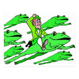 Reiten eines Frosches an St Patrick Tag Postkarte