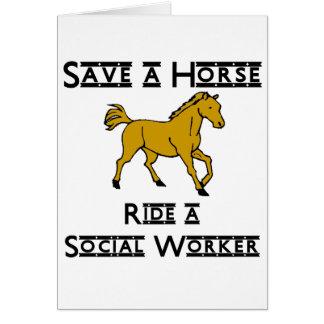 reiten Sie einen Sozialarbeiter Grußkarte