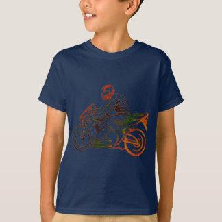 Reiter auf dem Motorrad-Regenbogen metallisch T-Shirt