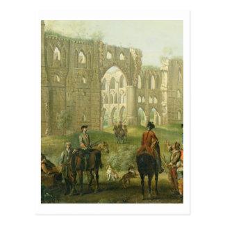 Reiter, die durch die Ruinen von Rievaulx Abtei, Postkarte