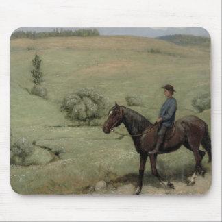 Reiter in einer Landschaft, 1894 (Öl an Bord) Mousepads