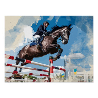 Reiter-springendes Pferd in Konkurrenz Poster