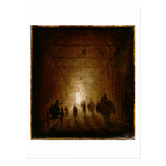 Reiter und Fußgänger, die durch ein gewölbtes P Postkarte