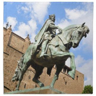 Reiterstatue in Barcelona, Spanien Serviette