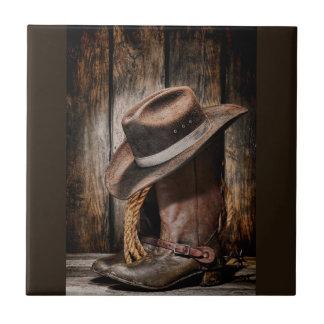Reitstiefel und Cowboyhut Keramikfliese