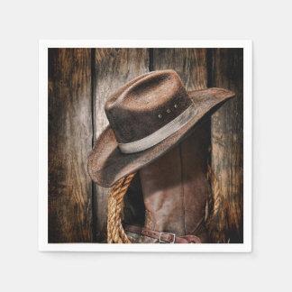 Reitstiefel und Cowboyhut Papierserviette
