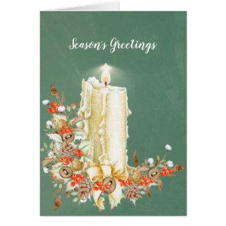 Reizend Feiertags-Kerze mit Pinecones u. Karte