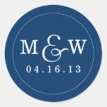 Reizend Hochzeits-Monogramm-Aufkleber - Marine