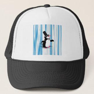 Reizend Pinguin auf blauem Vorhang Truckerkappe