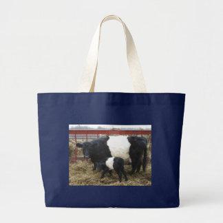 Reizende Beltie Kuh und Kalb Jumbo Stoffbeutel