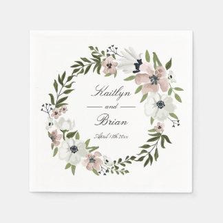 Reizende Blumenhochzeits-Serviette Papierserviette