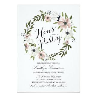 Reizende BlumenWreath-Henne-Party Einladung