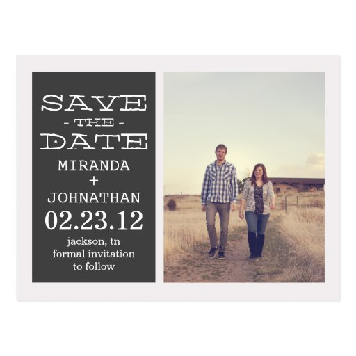 Reizende dunkelgraue Foto-Save the Date Postkarten