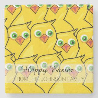 Reizende helle gelbe Ostern-Hühner Steinuntersetzer