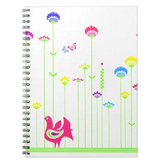 Reizende Henne und Blumen Notizbuch Spiral Notizblock