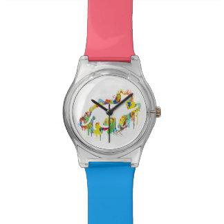 Reizende Katzen-buntes Malerei-Spritzen Armbanduhr