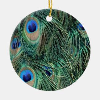 Reizende Pfau-Federn Keramik Ornament