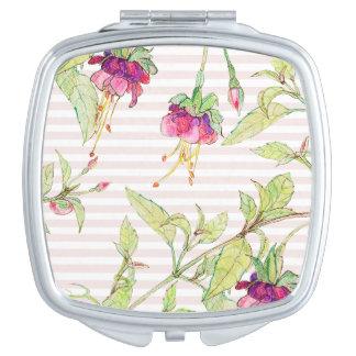 Reizende rosa Rosen-Blumenmuster-Vertrags-Spiegel Taschenspiegel