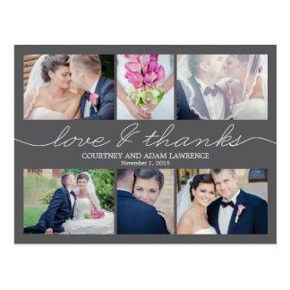 Reizende Schreibens-Hochzeit danken Ihnen, - Grau Postkarte