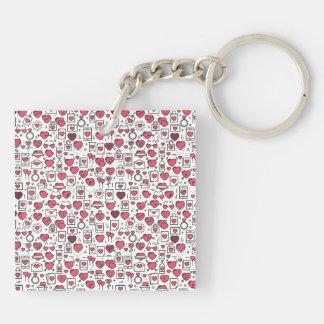 Reizende sortierte Herzen und Ikonen Keychain Schlüsselanhänger