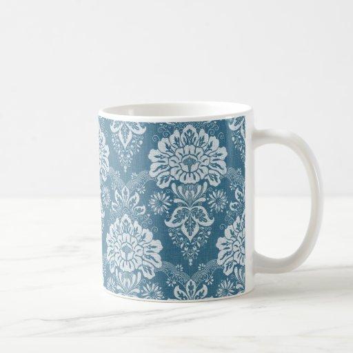 Reizende Vintage blaue Blumenverzierung Kaffee Tassen