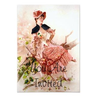 Reizende Vintage Dame In Pink Dress 12,7 X 17,8 Cm Einladungskarte