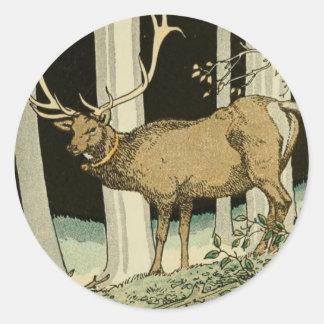 Reizende Vintage Elch-Illustrations-Waldgeschöpfe Runder Aufkleber