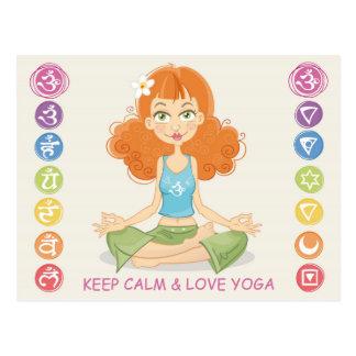 Reizende Yoga-Mädchen-Illustrations-Postkarte Postkarte