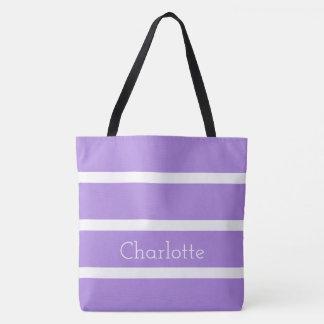 Reizender Lavendel und weiße Streifen Tasche