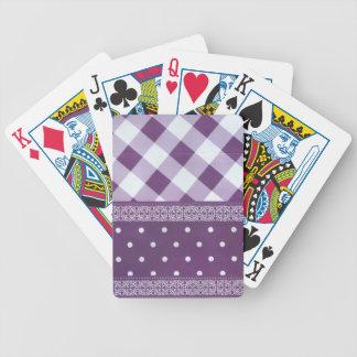 Reizender lila checkered Damast-nahtloses Muster Bicycle Spielkarten