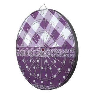 Reizender lila checkered Damast-nahtloses Muster Dartscheibe