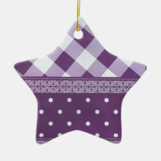 Reizender lila checkered Damast-nahtloses Muster Keramik Stern-Ornament