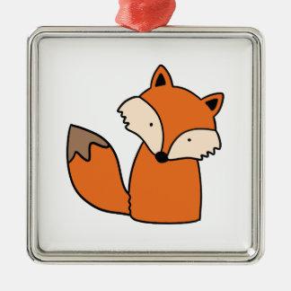 Reizender roter Fuchs Silbernes Ornament