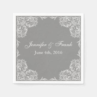 Reizender Spitze-Rahmen-graue Hochzeit Papierservietten