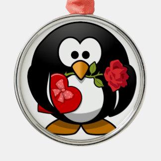 Reizender Valentinsgruß-Pinguin Silbernes Ornament
