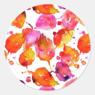 Reizender Watercolorherbst verlässt Muster Runder Aufkleber