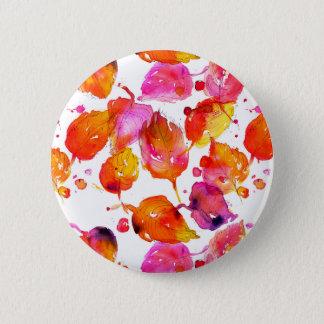 Reizender Watercolorherbst verlässt Muster Runder Button 5,7 Cm