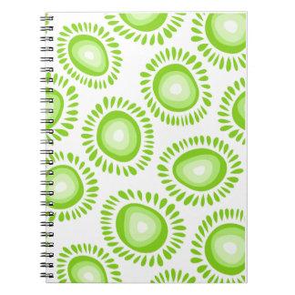 Reizendes grünes funky Blumen Notizbuch Spiral Notizblock