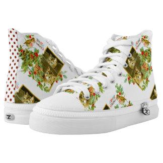 Reizendes Kätzchen und niedliches Vintages Hoch-geschnittene Sneaker