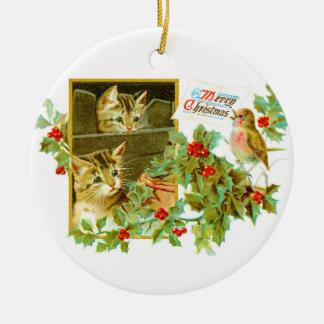 Reizendes Kätzchen und niedliches Vintages Keramik Ornament