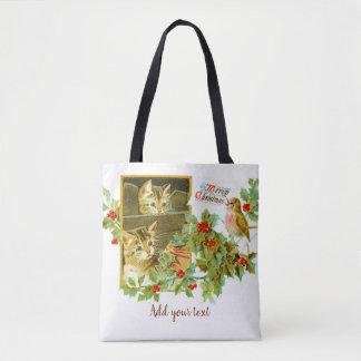 Reizendes Kätzchen und niedliches Vintages Tasche