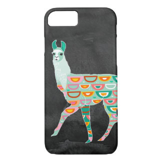 Reizendes Lama auf dunkelgrauem Aquarell iPhone 8/7 Hülle