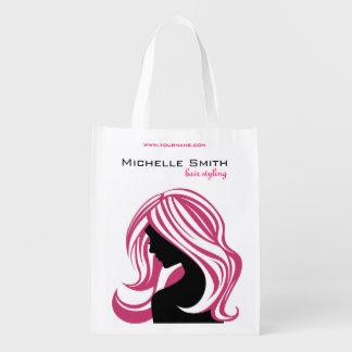 Reizendes Mädchen mit dem rosa Haar Wiederverwendbare Einkaufstasche