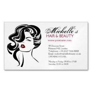 Reizendes Mädchen mit gewelltes Haar Make-upikone Visitenkartenmagnet
