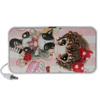 Reizendes Mädchen mit niedlicher schwarzer Katze - iPod Speaker